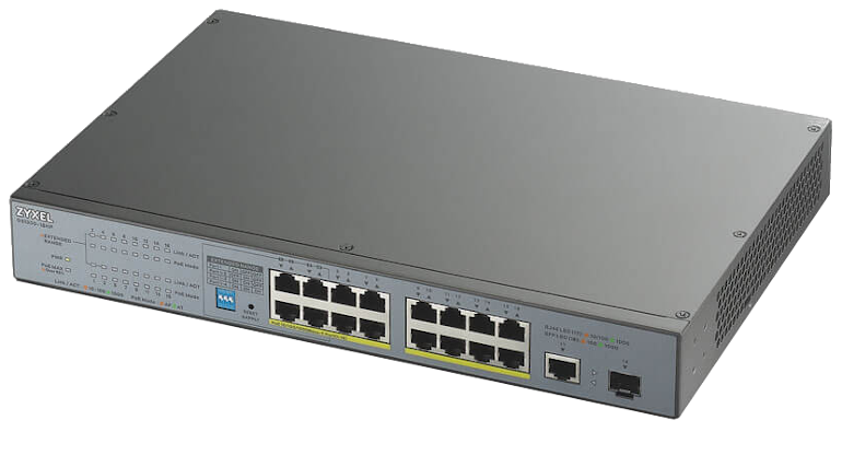 Switch Zyxel GS1300-18HP 16xGEth + 1xSFP/Combo 16xPoE(170W)CCTV